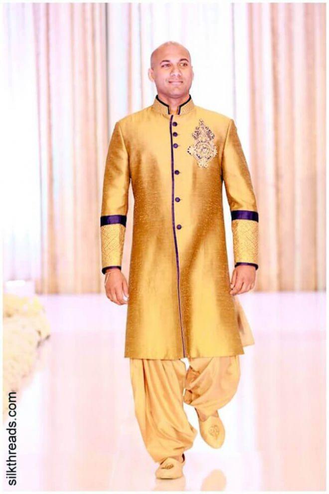 Gold silk Nehru Jacket