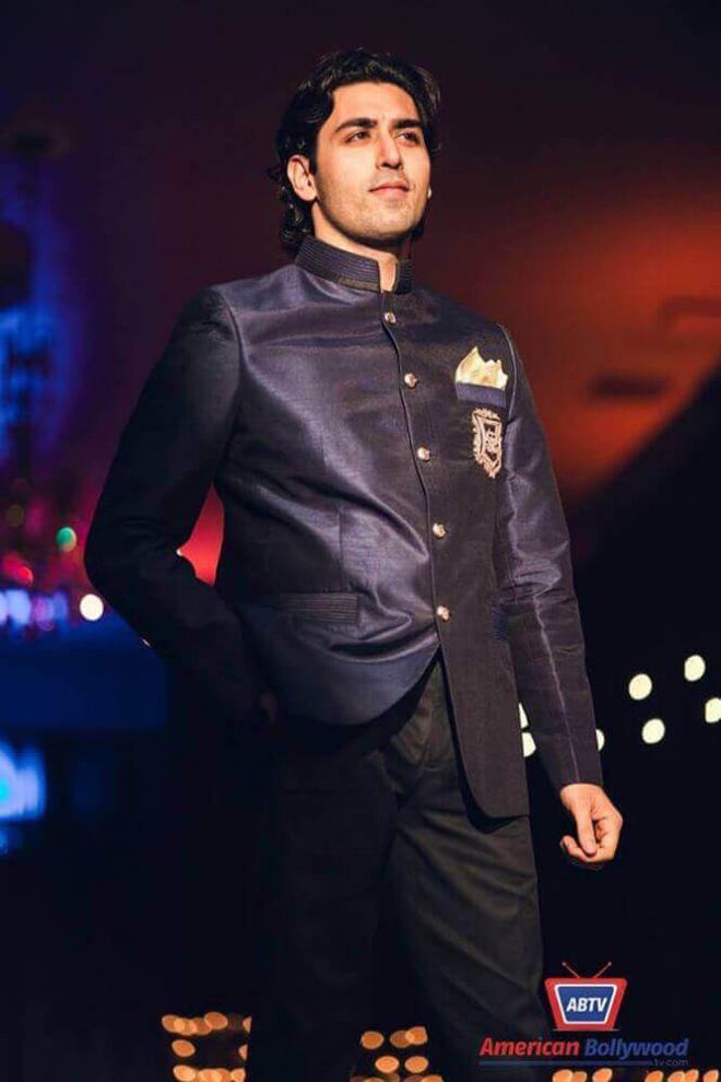 Navy Silk Nehru Jacket