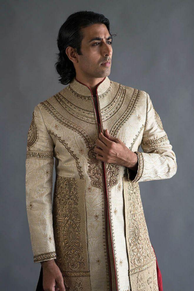 cream and gold nehru jacket