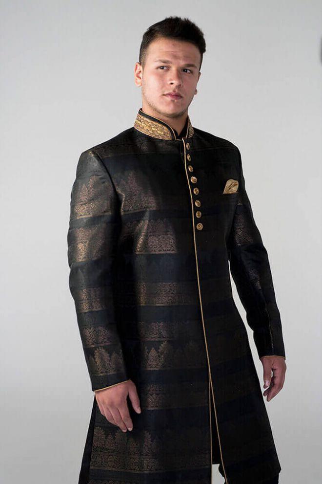 brown and black nehru jacket