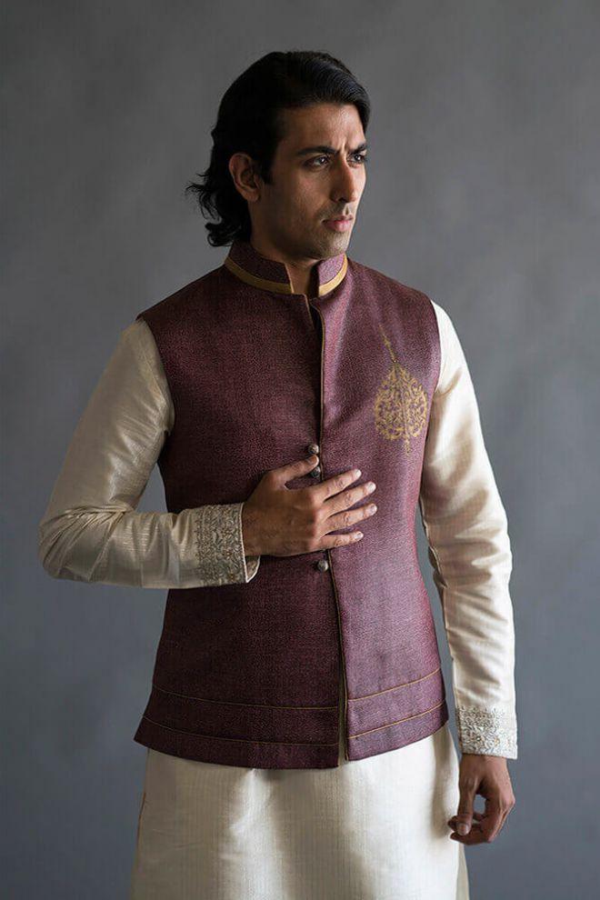 maroon nehru vest