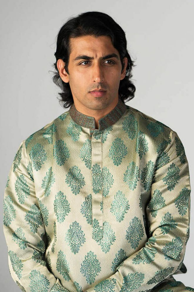 gold green nehru shirt