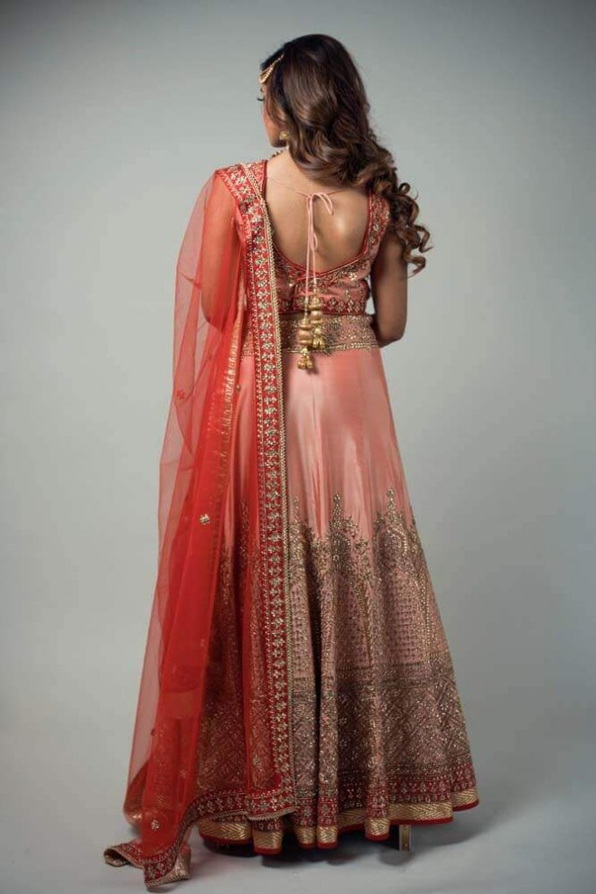 pink and gold bridal lengha