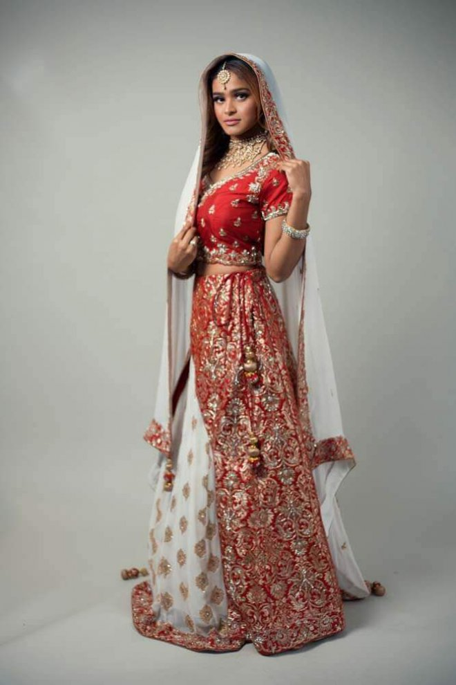 red and white bridal lengha
