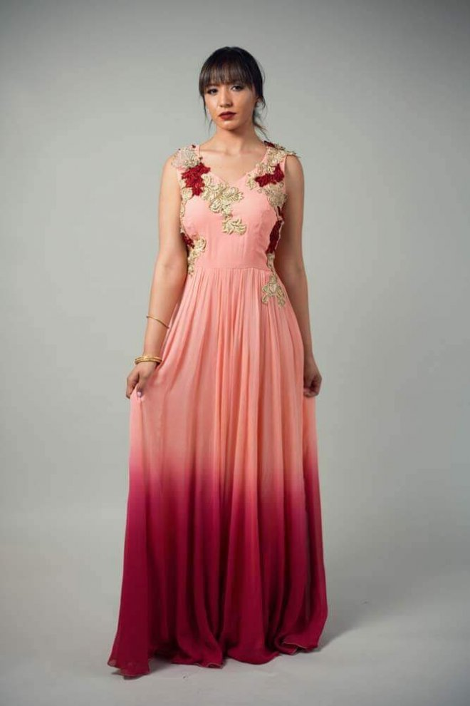 peach and pink floral gown